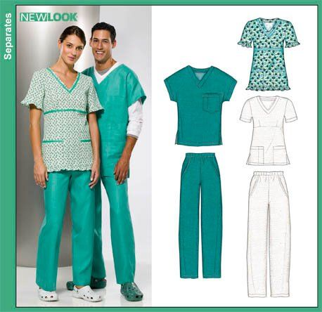 New Look 6857   Misses, Men and Teens Scrub Tops and Pants & Misses Only Scrub Top sewing pattern