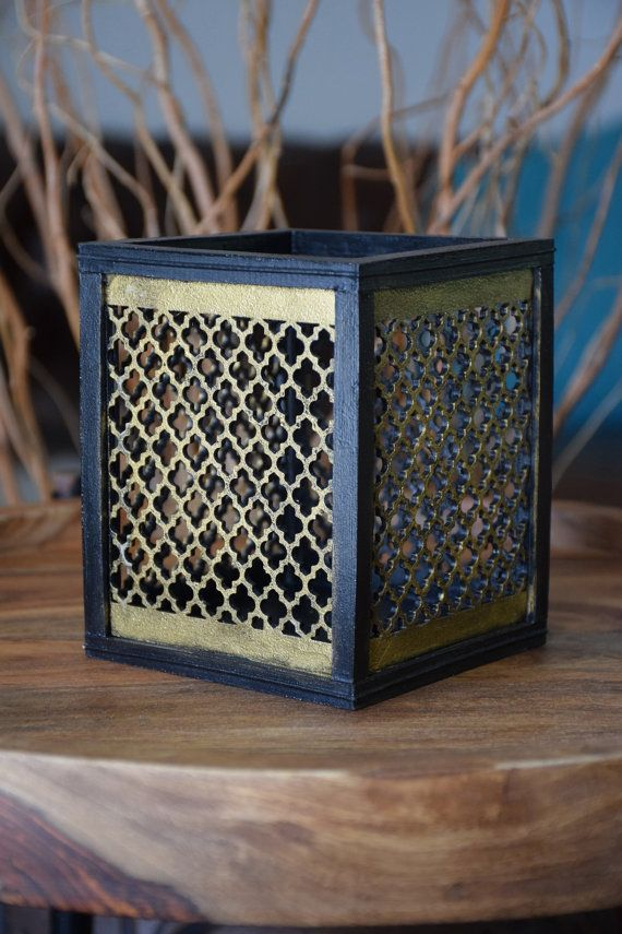 Handmade Square Black and Gold Vase by ThadamCreativeDesign