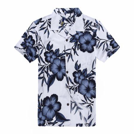 Palm Wave - Palm Wave Mens and Big Mens White Navy Floral Hawaiian ...