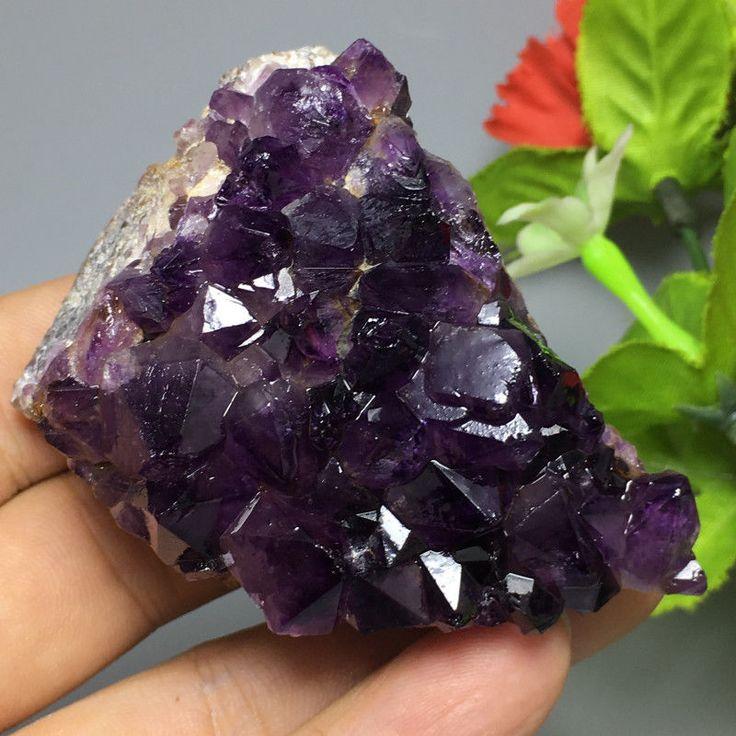162g Deep purple Madagascar AMETHYST DRUZY CRYSTAL CLUSTER BIG FOCAL BEAD t66 | eBay