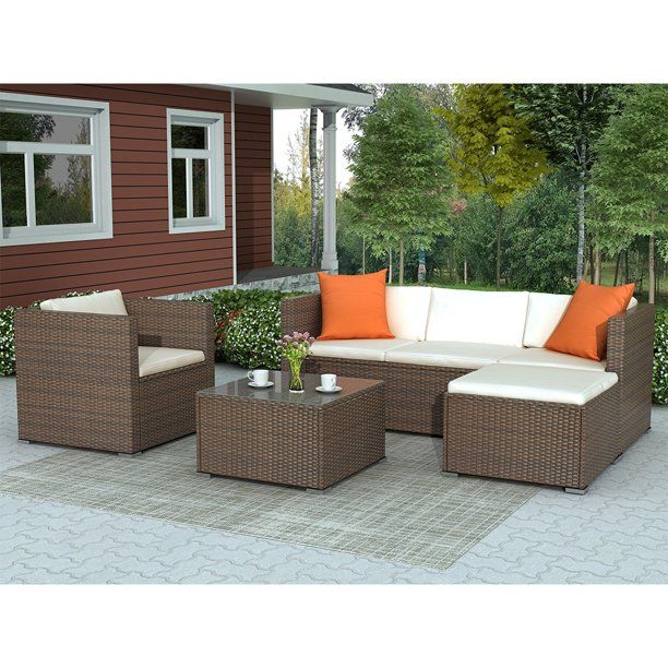 Patio Furniture Sets 4 Piece Outdoor Sectional Sofa Set With Loveseat And Lounge Sofa Armchair Coffee Table All Weather Wicker Furniture Conversation Set Fo Rattan Patio Furniture Patio Sofa Set Outdoor Sectional Furniture