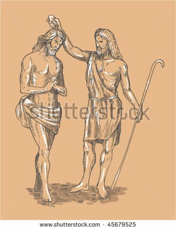 vector hand sketched illustration of Saint John the baptist baptizing Jesus Christ the savior - stock vector #JohntheBaptist #sketch #illustration
