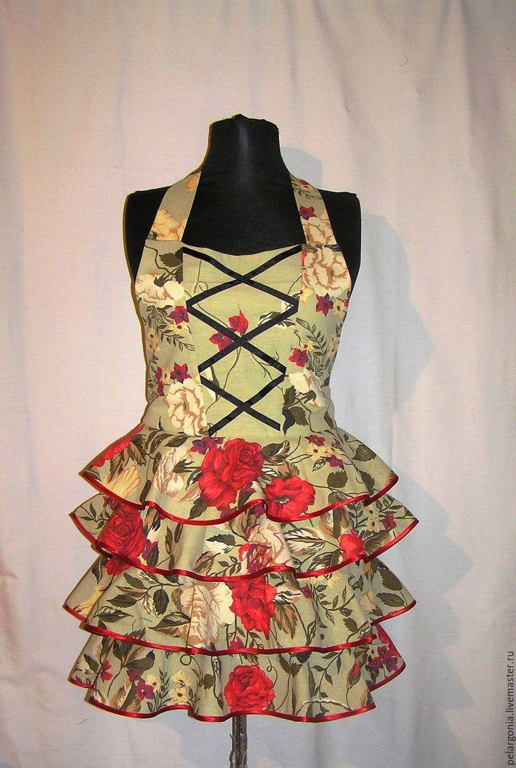 """Купить Фартук женский с воланами """"Красные розы""""(юбка с оборками,воланы) - женский фартук, подарок женщине"""