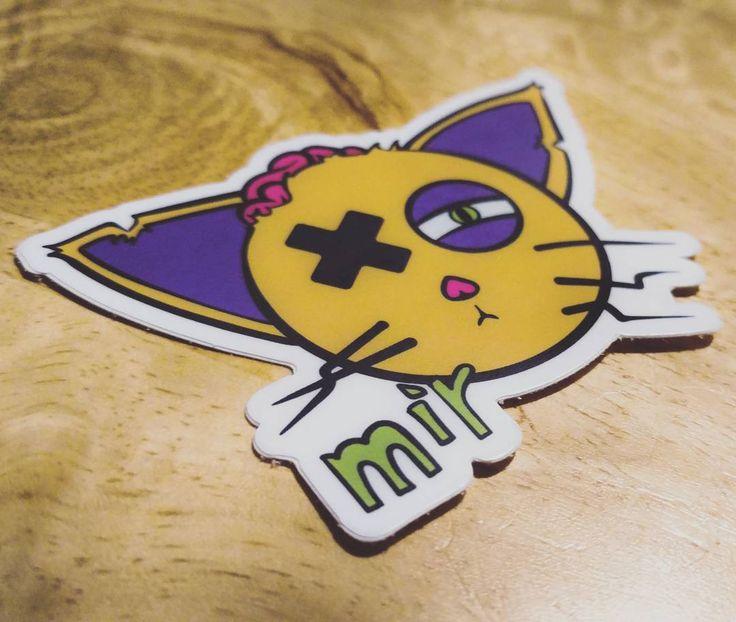 """Mir Cat"" #stickers $2 on DeadPhonesClothing.com #cat #vinyl #scenekid #scene #scenegirl #cat #catstickers #brains #zombie #zombiecat #dead #death #goth #gothic #style #fashion #accessory #swag #mir #skate #street #punk #punkrock #cutecat #illustration #artiststickers #littlerock #arkansas #Deadphonesclothing"