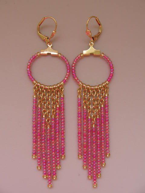 Seed Bead Chain Hoop Earrrings Fuchsia Gold by pattimacs on Etsy, $18.00