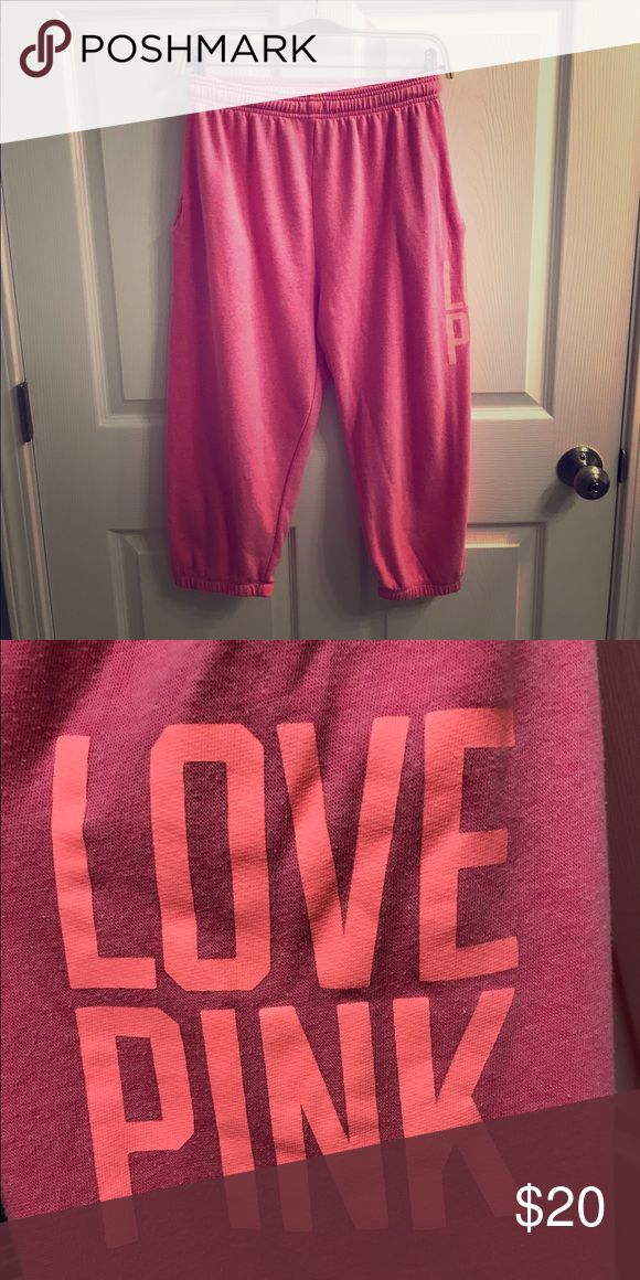 VS Pink cropped boyfriend sweatpants Pink with coral letters PINK Victoria's Secret Pants