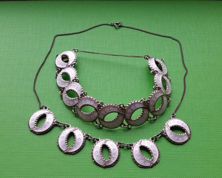 Norwegian Andresen&Scheinpflug Silver White Enamel Matching Necklace & Bracelet #AndresenScheinpflug