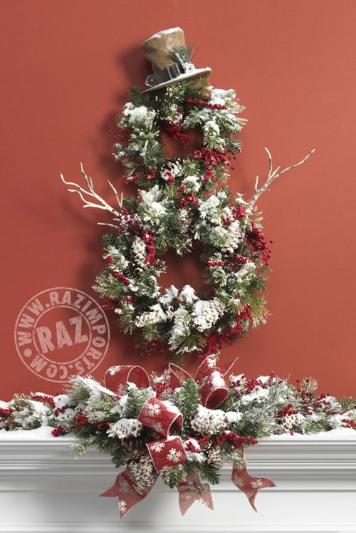 Snowman wreath ~ mantel decoration