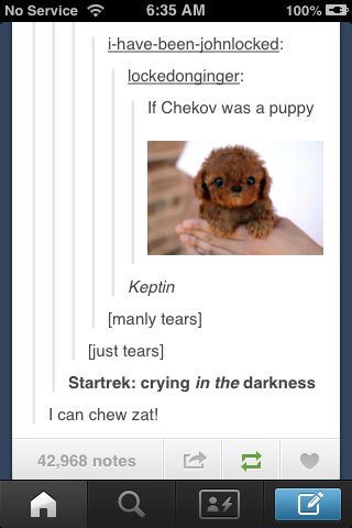 Star Trek - tumblr ---AU where everything's the same except Chekov's a puppy