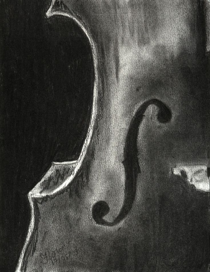 Love this charcoal drawing. #Cello side                                                                                                                                                     More