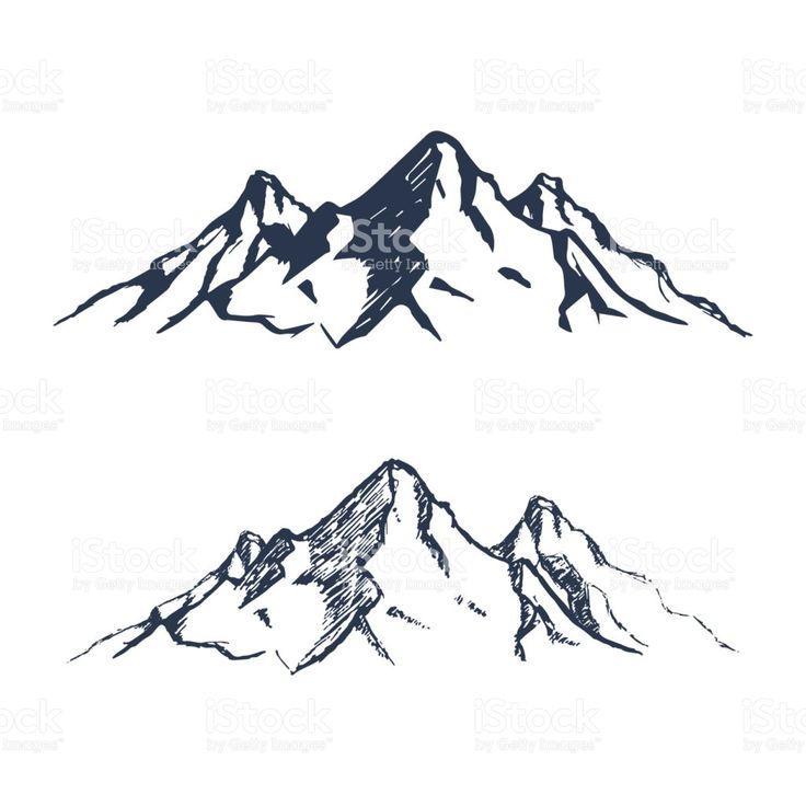 Mountains set. Hand drawn rocky peaks. Vector illustration