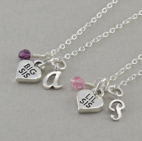 Sister Necklaces, Set of 2, Sterling Silver, Big Sis Lil Charm, little girls necklace, sisters present, personalized, adoption, ANDI & PIPPA...
