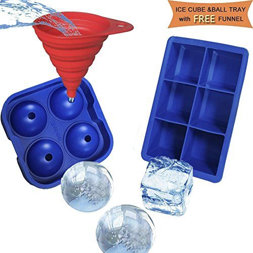 Large Silicone Sphere Ice Ball Mold and Ice Cube Trays, with Free Kitchen Gadgets Funnel, VIWIEU Round Whisky Ice Ball Maker for Scotch Bar Tray Wine Tools, Set of 3 #Large #Silicone #Sphere #Ball #Mold #Cube #Trays, #with #Free #Kitchen #Gadgets #Funnel, #VIWIEU #Round #Whisky #Maker #Scotch #Tray #Wine #Tools,