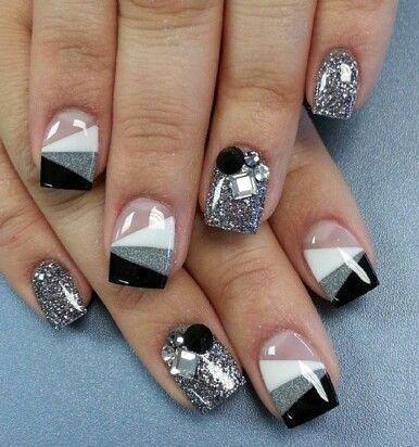 Nailart Black white grey silver