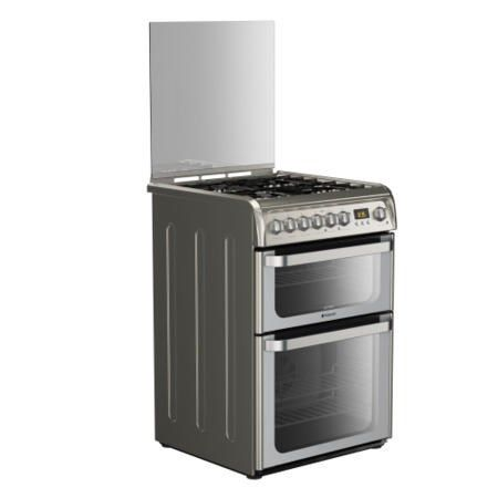Buy Hotpoint HUD61XS Ultima 60cm Double Oven Dual Fuel Cooker - Stainless Steel from Debenhams Plus