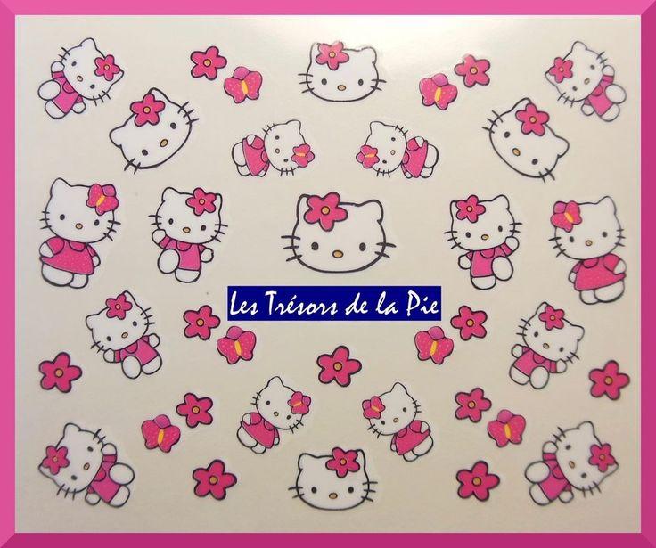 STICKERS ONGLES WATER DECAL (x30) - Nail art - Hello kitty - Fuchsia & blanc