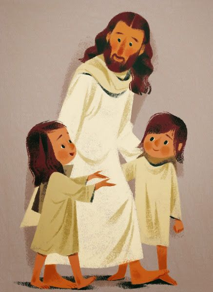 annette marnat: Petites prières du soiri. Jesus loves the little children; illustration with a vintage feel.