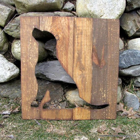 Dog Silhouette From Reclaimed Pallet Wood By