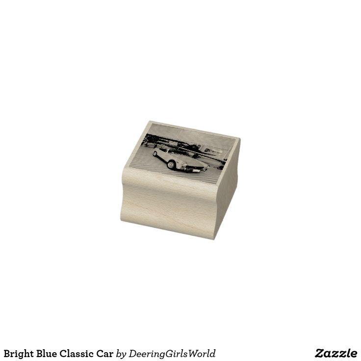 Bright Blue Classic Car Rubber Stamp   Zazzle.com