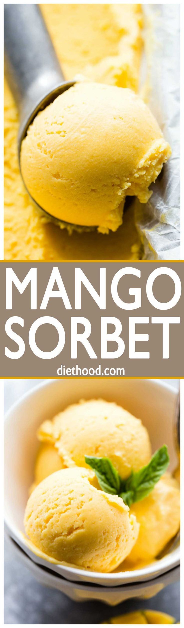 Mango Sorbet Recipe - Sweet, tart, rich, and SO delicious Mango Sorbet made with just 5 ingredients, and without an ice cream maker!