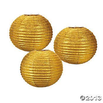 Gold Glitter paper Lanterns.