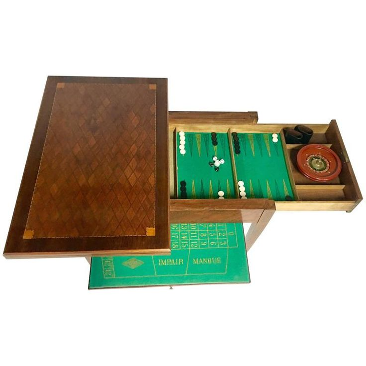 Antique French Marquetry Backgammon and Roulette Games Table | From a unique collection of antique and modern game tables at https://www.1stdibs.com/furniture/tables/game-tables/