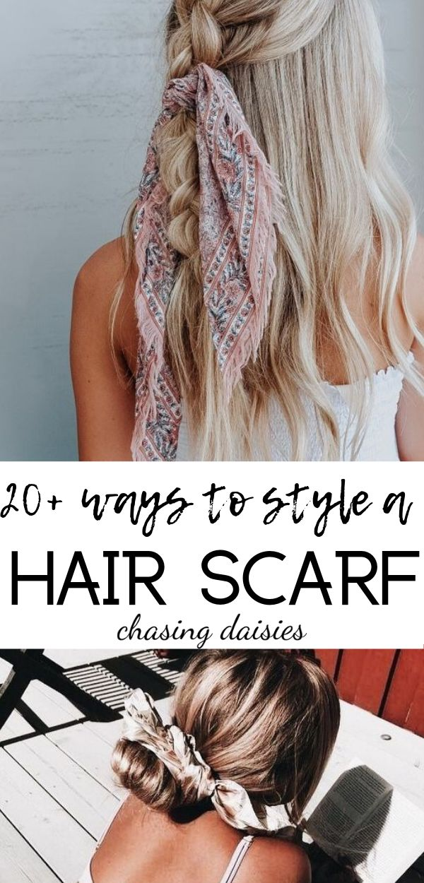 Hair scarf styles and gorgeous ways to easily style a hair scarf! check out these easy hair scarf styles for inspiration #hairscarfstyles #hairscarf #...