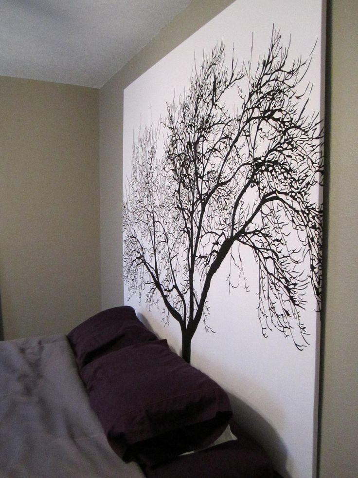 DIY Headboard: shower curtain + wooden frame. I love trees. Great idea!