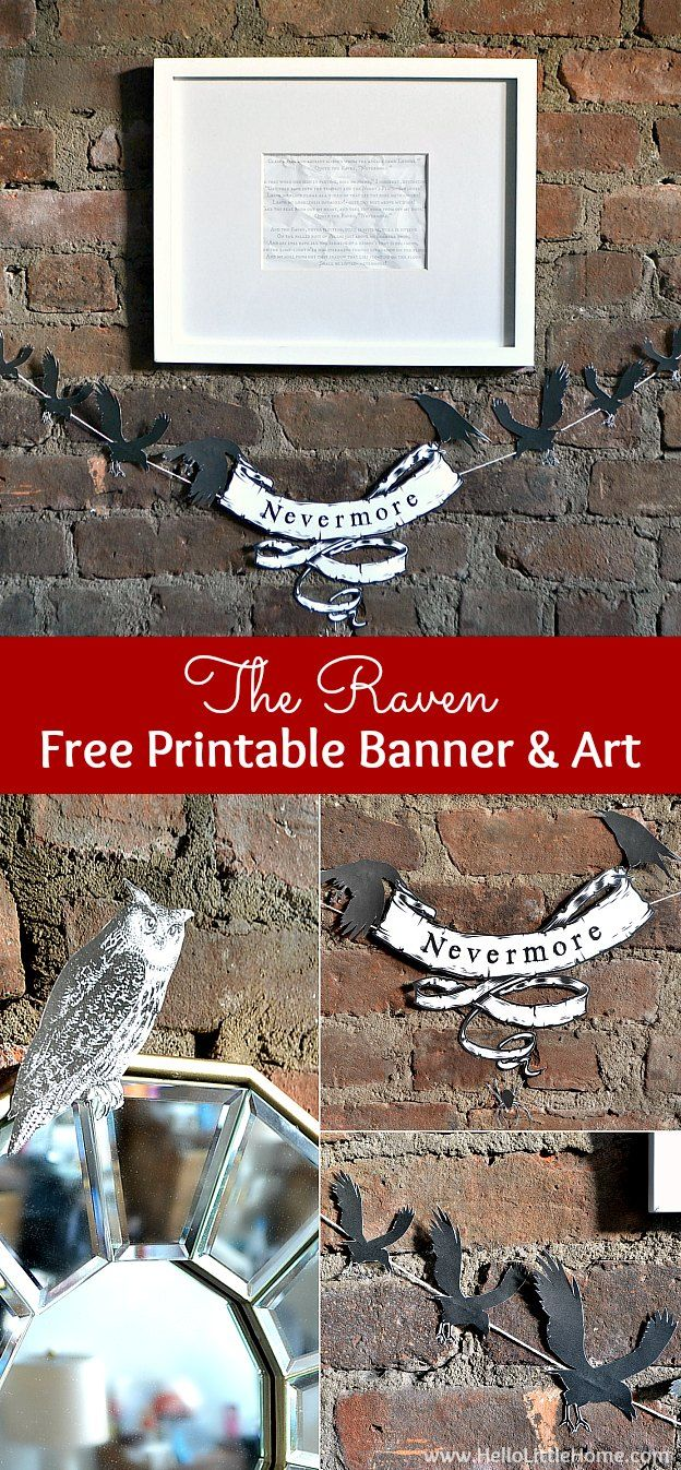 The Raven Free Printable Banner and Art, inspired by Edgar Allen Poe's famous poem ... the perfect addition to your creepy Halloween decor! | Hello Little Home