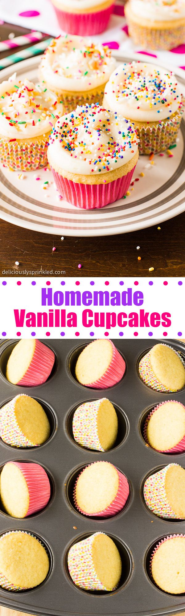 Homemade Vanilla Cupcakes (with frosting recipe) These are awesome! I might add in a little more flour and sugar