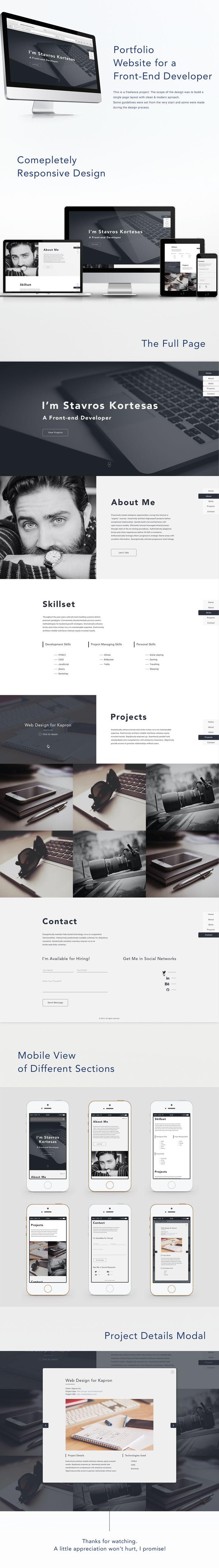 One-Page Portfolio Website for a Front-end Developer on Behance