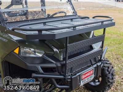 This front rack mounts on the hood of the Polaris Ranger 570 or 900 and gives you additional transporting capability while adding a stealthy and sleek look. Add yours today!