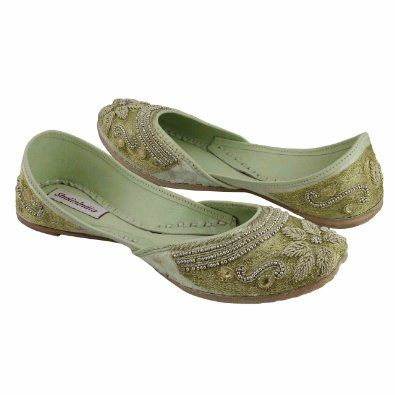 Embroidered green flats