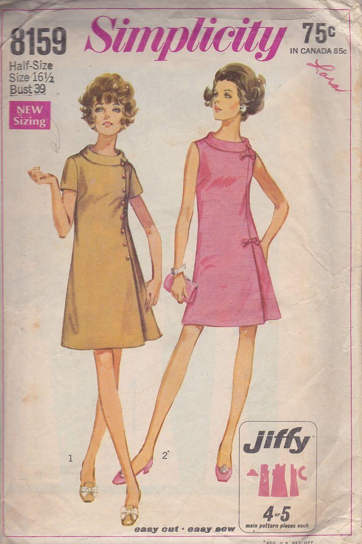 Vintage Dress Pattern 1969 A-Line Shift Dress, Simplicity ... - photo#39
