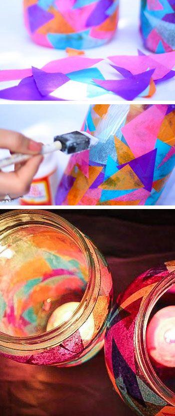 Colorful Garden Lanterns - DIY Outdoor Lighting Ideas - Click for Tutorial