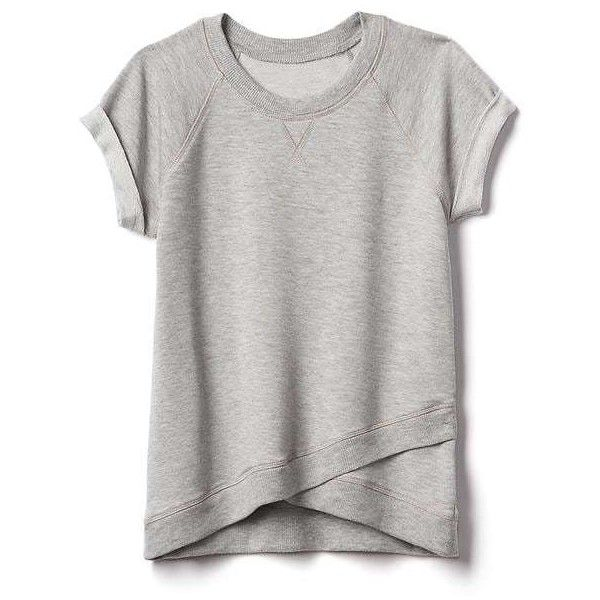 a0038b0ab6548 Athleta Girl Criss Cross My Heart Tee ( 34) ❤ liked on Polyvore featuring  light grey heather