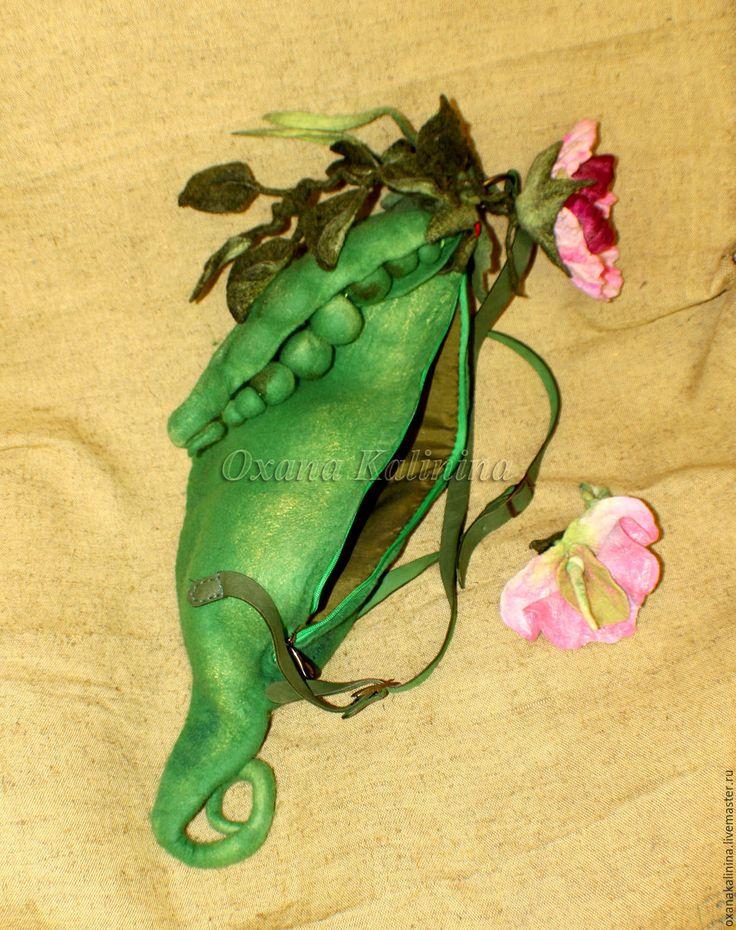 Купить Рюкзак валяный Зеленый горошек - зеленый, горошек, рюкзак горошек, сумка горошек