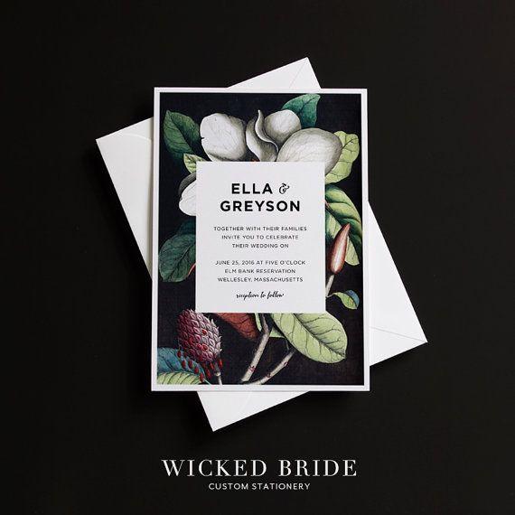 Magnolia wedding invitations wedding set wedding suite for Magnolia tree wedding invitations