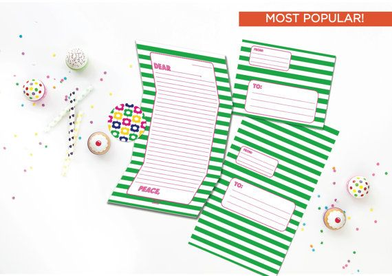 Preppy Striped Camp Stationery Pink and Green Camp by effiespaper