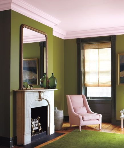"Moss Green, Petal Pink, Olive  We're accustomed to the colors of nature, says Ashcraft, so using them on walls is less chancy than you might think—even when they're strong. ""This palette is a bit English and old-fashioned—and swiped right out of a garden,"" she says. ""Rich greens, with a big pink bloom on top."""