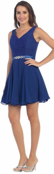 Sleeveless Lace Bodice V-Neck Navy Blue Short Dress #discountdressshop #navyblue #shortdress #cocktail #homecoming #sleeveless