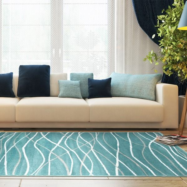 LNR Home Grace LR81125 Teal Rug (7'6 x 9'6) - 18187514 - Overstock.com Shopping - Great Deals on 7x9 - 10x14 Rugs