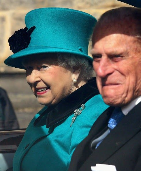 Queen Elizabeth II and Prince Philip, Duke of Edinburgh smile as they drive away from Sheffield Cathedral after the traditional Royal Maundy Service at Sheffield Cathedral on 02.04.2015 in Sheffield, England.