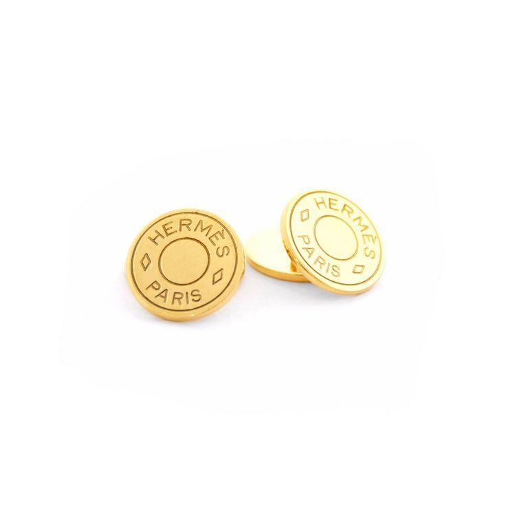 Authentic Hermès 18K Gold Clous de Selle Cufflinks at THEBROWNPAPERBAG.NET #authentic #vintage #parisian #luxury #hermes