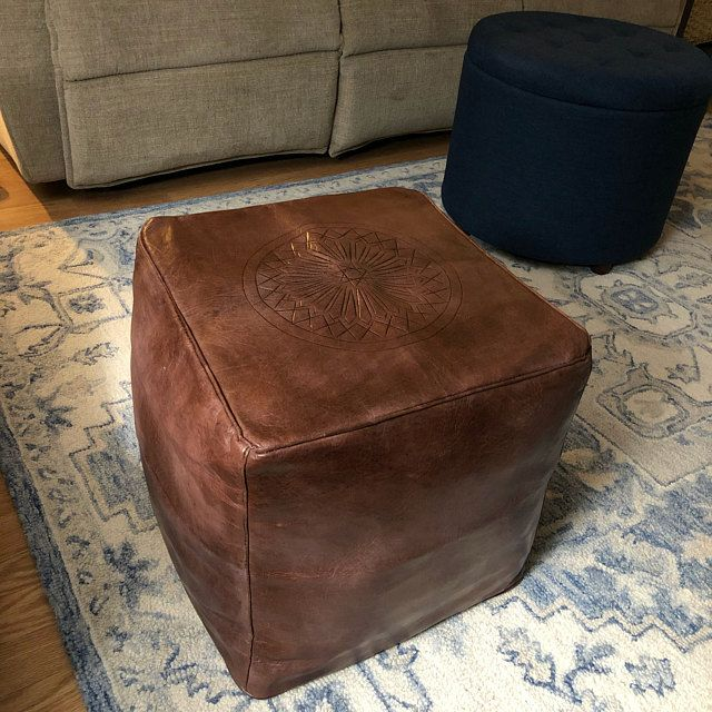 Best Leather Moroccan Pouf Handcrafted Ottoman Stool Pouf