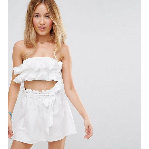 ASOS PETITE Beach Co-ord Bandeau Top with Ruched Frill Detail (429.815 VND) ❤ liked on Polyvore featuring tops, petite, white, bandeau top, petite white tops, beach crop tops, strapless crop top and bandeau bikini top
