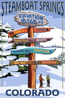 Vintage Ski Resort Posters. Steamboat Springs, CO - Ski Run Signpost - Lantern Press Poster