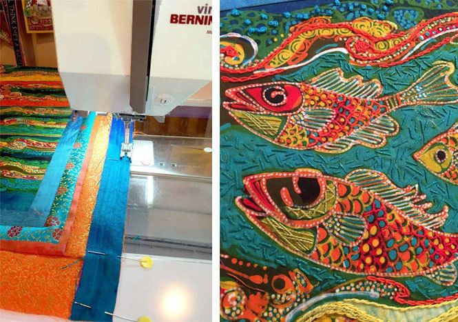 Indonesian batik panel stitched with WonderFil Specialty Threads by Judy Gula at Artistic Artifacts