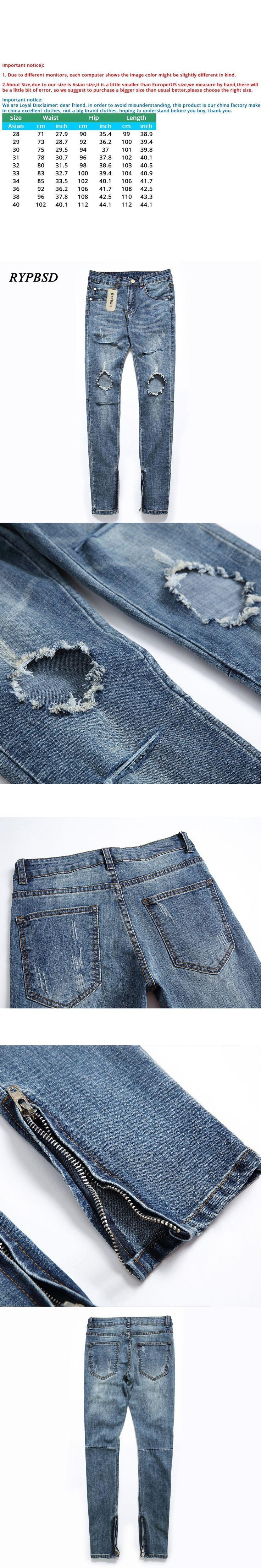 Fashion Vintage High Street Knee Hole Zipper Biker Jeans Men Distressed Skinny Slim Stretch Light Blue Beggar Jeans Pencil Pants