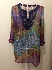 Fine silk top with 3/4 sleeves and embroidery at neck edge